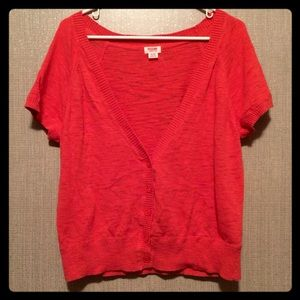 Mossimo bright coral short sleeve cardigan.